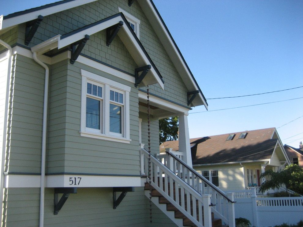 Loewen Windows for a Craftsman Exterior with a Wood Siding and Greenlake Custom Home by Ventana Construction LLC
