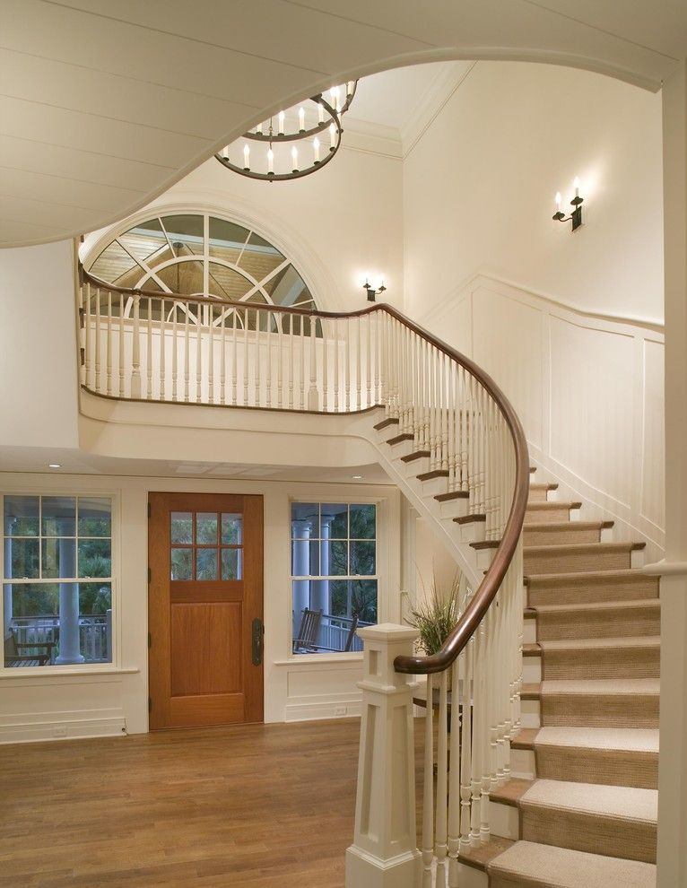 Loewen Windows for a Traditional Entry with a Tiered Chandelier and Entry Foyer by Christopher a Rose Aia, Asid