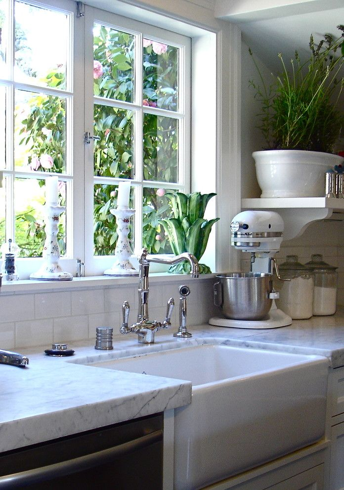 Loewen Windows for a Traditional Kitchen with a Kitchen Mixer and Downtown Mill Valley by Patti Ogden Design