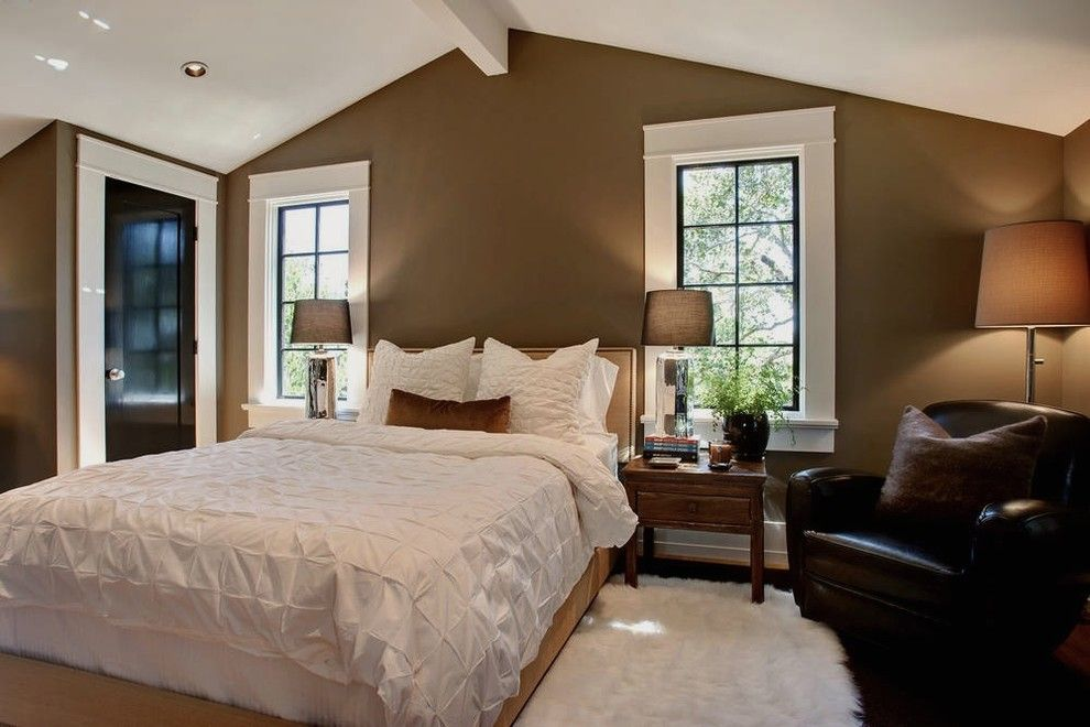 Loewen Windows for a Transitional Bedroom with a Dark Taupe Wall and Mill Valley, Ca by Urrutia Design