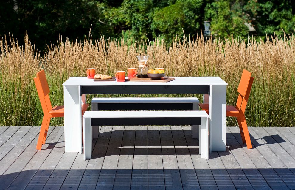 Loll Designs for a Beach Style Patio with a Patio and Fun and Functional Outdoor Dining by Lekker Home