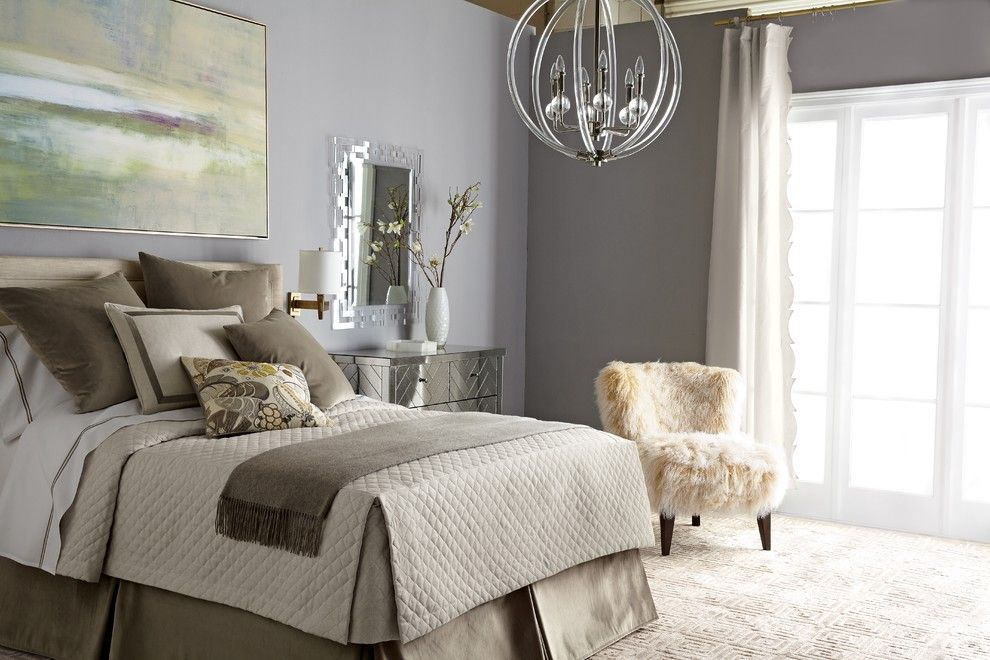 Loll Designs for a Contemporary Bedroom with a Beige Carpet and Horchow by Horchow