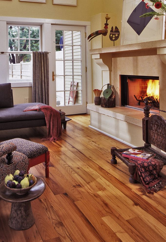 Longleaf Lumber for a Eclectic Living Room with a Chestnut and Longleaf Lumber Antique Chestnut Flooring by Longleaf Lumber Inc