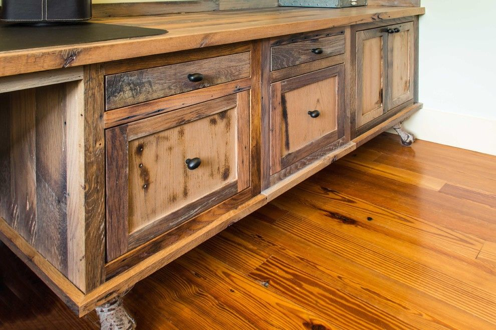 Longleaf Lumber for a Rustic Home Office with a Cabinets and Reclaimed Skip Planed Oak Furniture by Longleaf Lumber Inc