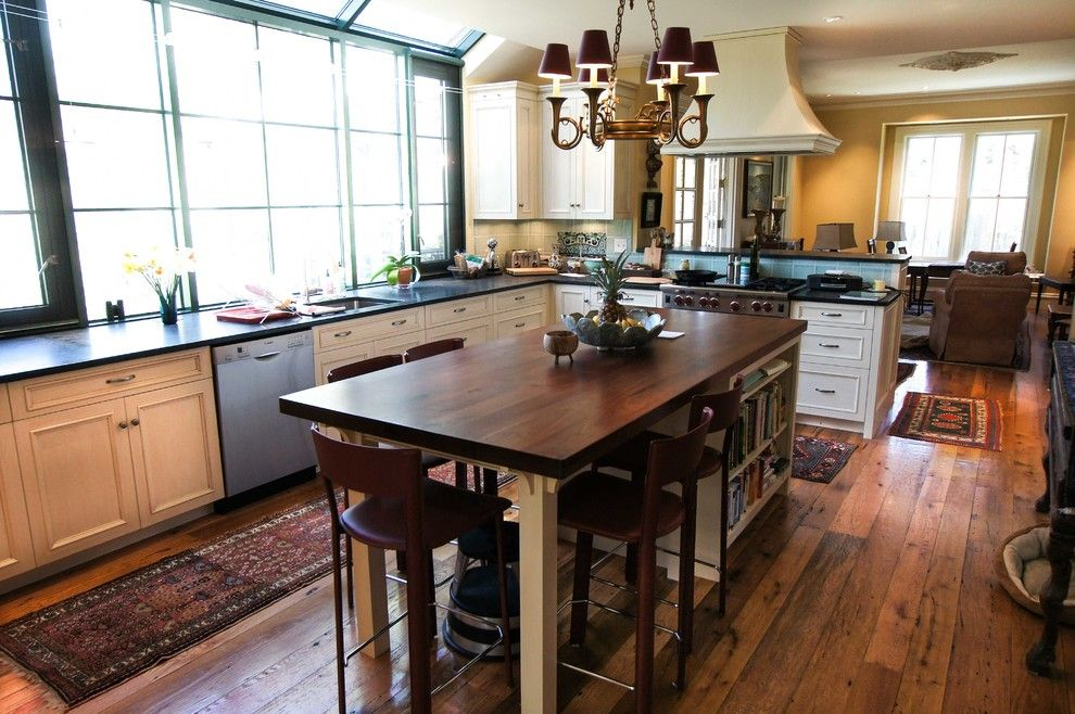 Longleaf Lumber for a Transitional Kitchen with a White Oak Flooring and Reclaimed Walnut Countertop & White Oak Flooring by Longleaf Lumber Inc