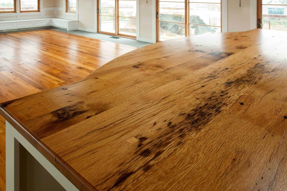 Longleaf Lumber for a Transitional Living Room with a Tabletop and Reclaimed Oak Counter by Longleaf Lumber Inc