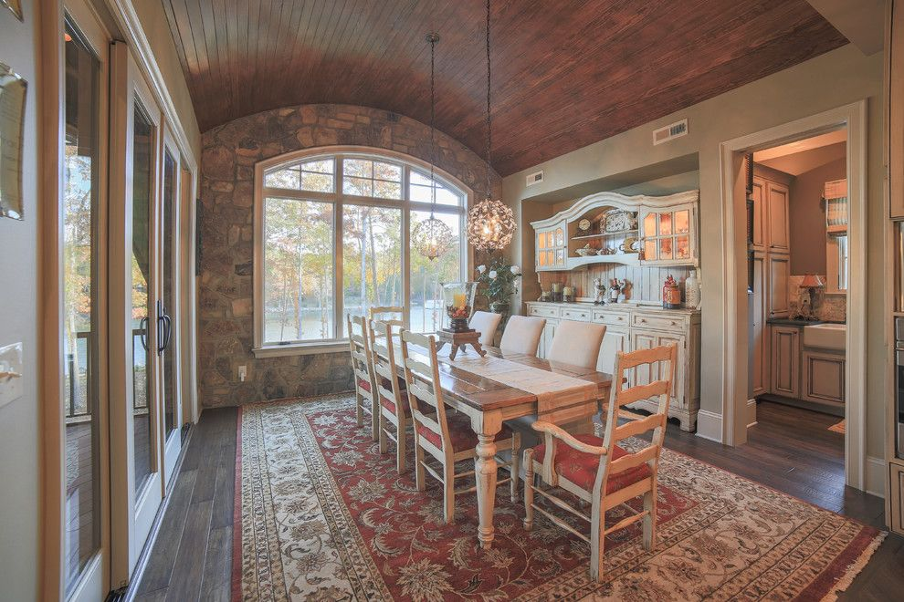 Lorts Furniture for a Rustic Dining Room with a Hand Scraped Wood and Lake Wylie Rustic Home in York, Sc by Durham Designs & Consulting, Llc