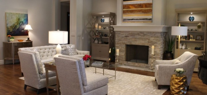 Lorts Furniture for a Transitional Living Room with a Glass Tabletop and Gracious Living Room by Joie De Vie Interiors