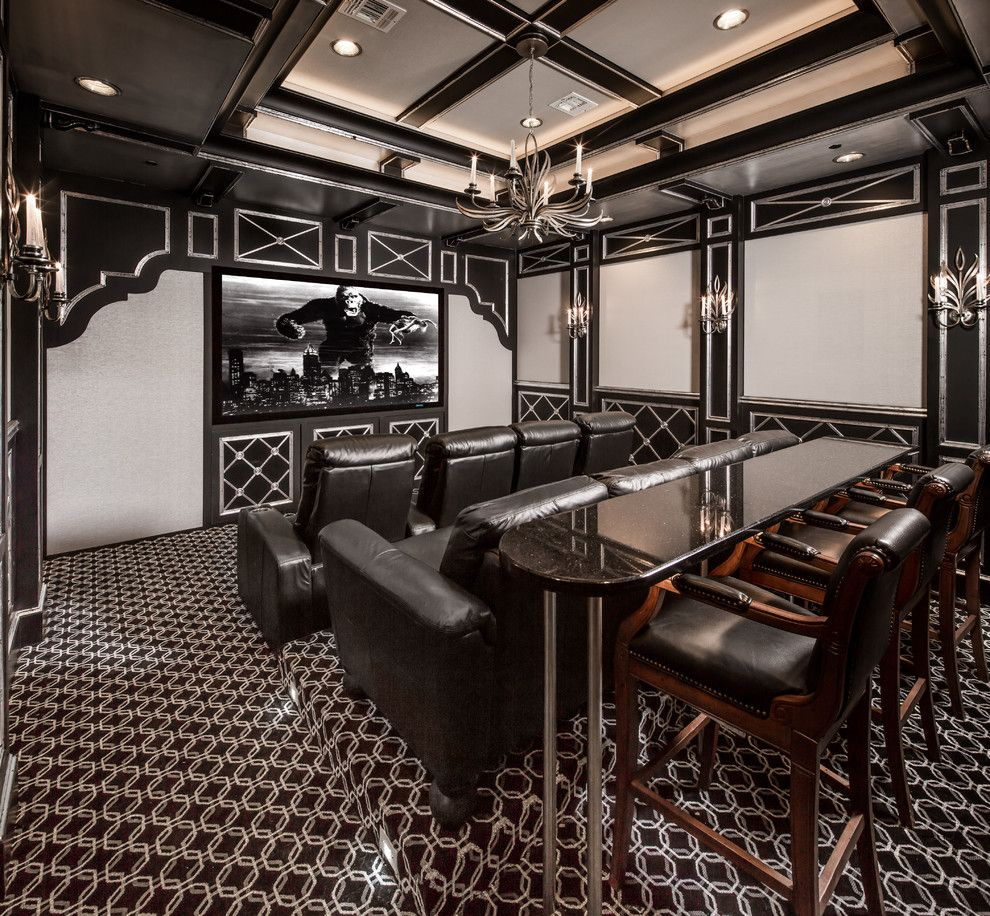 Los Gatos Theater for a Mediterranean Home Theater with a Black Counter and Meadowick by Thompson Custom Homes