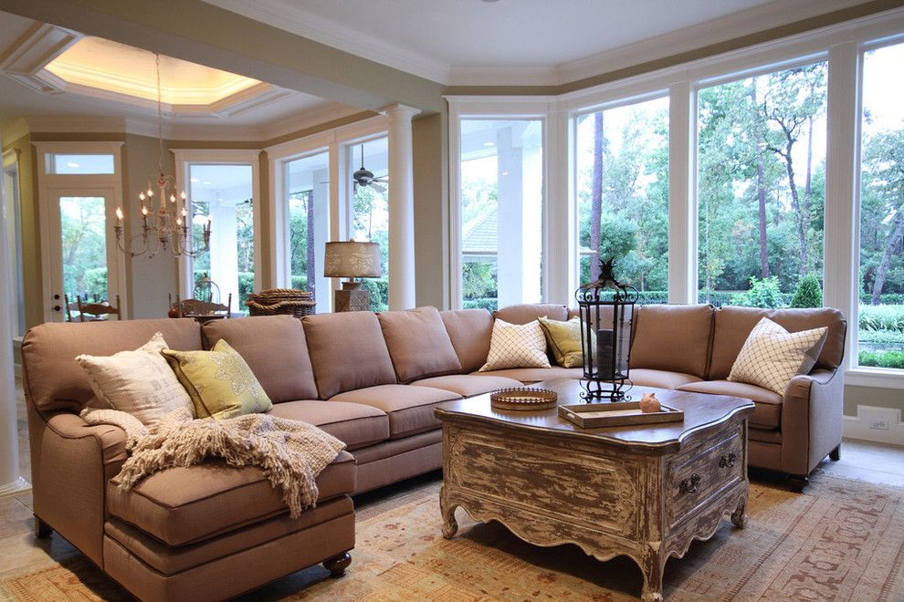 Louis Shanks for a Traditional Family Room with a Rug and French Country Home by Pamela Hope Designs