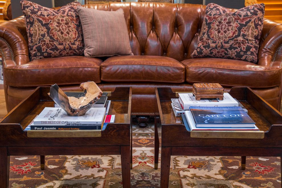 Louis Shanks for a Traditional Living Room with a Curved Sofa and Traditional Bachelor Pad by Dawn Hearn Interior Design