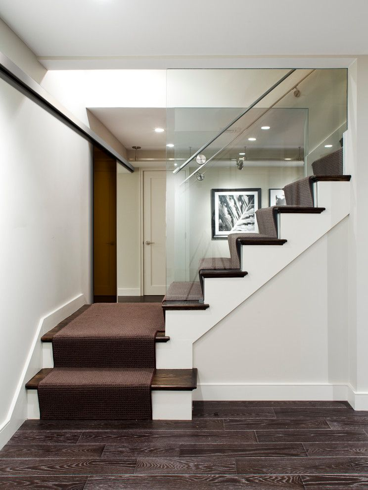 Low Pile Carpet for a Contemporary Staircase with a Handrail and Stoneham Residence by B&d Building & Remodeling