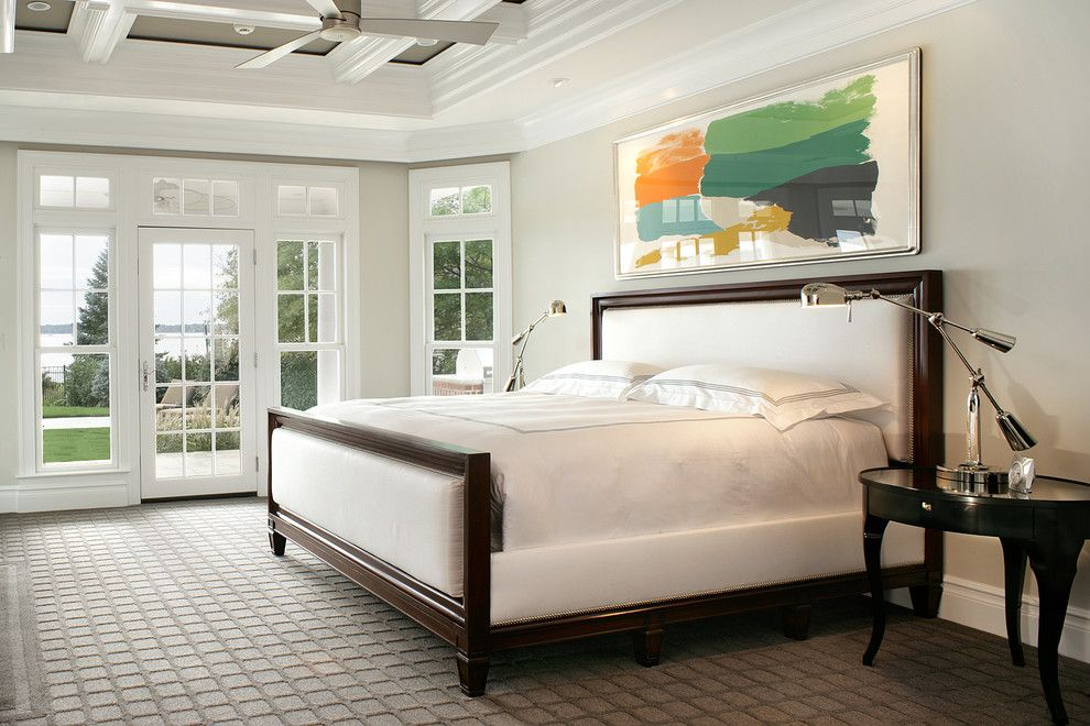 Low Pile Carpet for a Traditional Bedroom with a Dark Wood Bed and Monmouth Beach House by I.fromkin Interiors