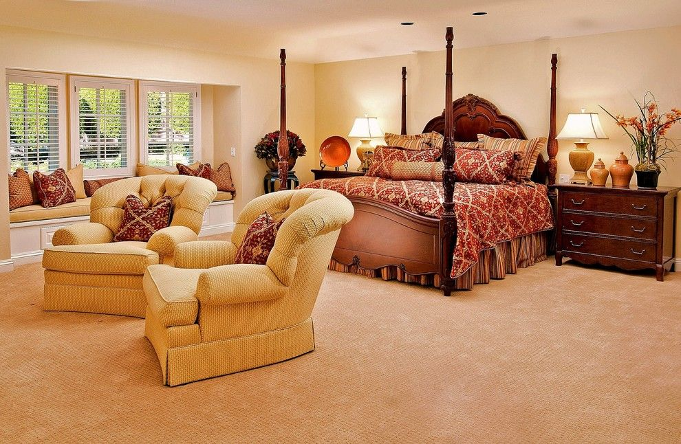 Low Pile Carpet for a Traditional Bedroom with a Throw Pillows and Debra Campbell Design by Debra Campbell Design