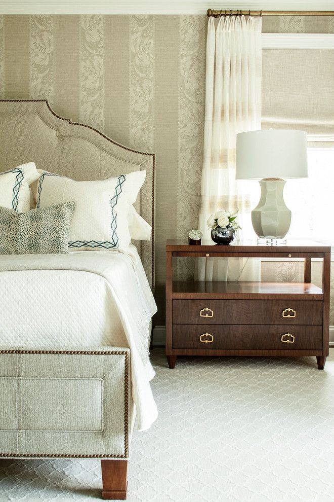 Low Pile Carpet for a Transitional Bedroom with a Wallpaper and Beechwood by Ml Interior Designs