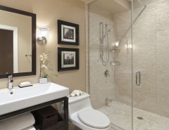 Lowes Abilene Tx for a Contemporary Bathroom with a Above Counter Sink and Port Credit Townhome by Avalon Interiors