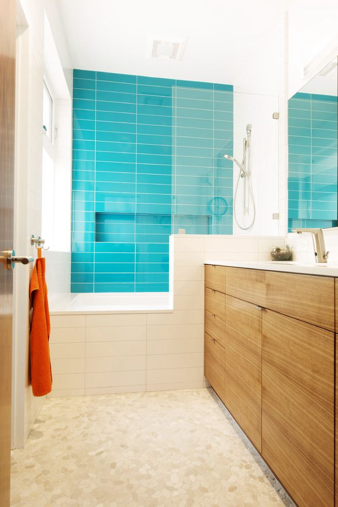 Lowes Albany Ny for a Modern Bathroom with a Turquoise Shower Tile and Noe Valley Residence by Moroso Construction