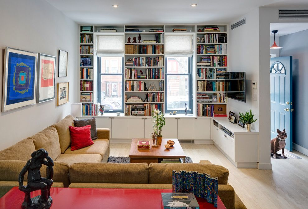 Lowes Brooklyn for a Contemporary Living Room with a Roman Shades and Sunset Park, Brooklyn Rowhouse by Barker Freeman Design Office Architects Pllc