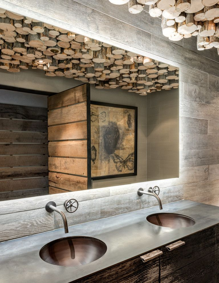 Lowes Brooklyn for a Rustic Bathroom with a Double Sinks and Mountain Guest Cabin by Highline Partners, Ltd