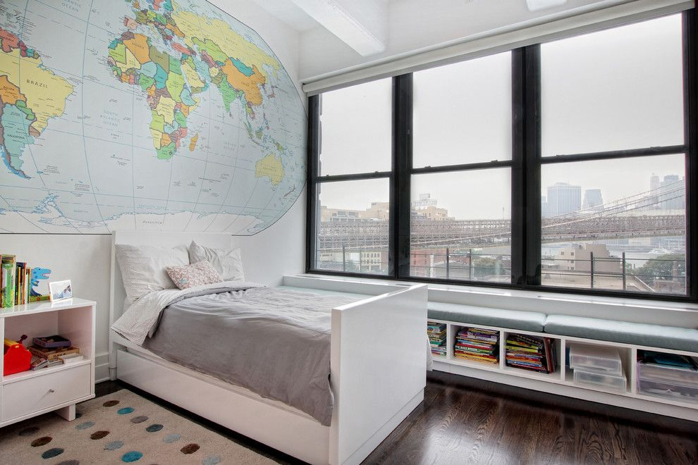 Lowes Brooklyn for a Transitional Kids with a Beamed Ceiling and Contemporary Loft Interior Design + Renovation, Kids Bedroom, Dumbo Brooklyn by Meshberg Group
