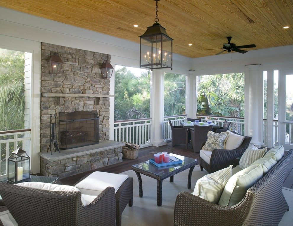 Lowes Charleston Wv for a Traditional Porch with a Stacked Stone Fireplace and Screened Porch Features Outdoor Fireplace by Christopher a Rose Aia, Asid