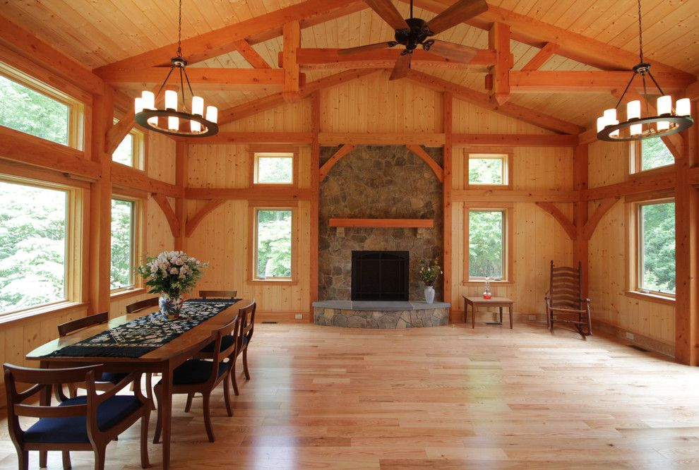 Lowes Charlottesville for a Contemporary Living Room with a Timberpeg Timber Frame and Earlysville Rancher Remodel by Smith & Robertson, Inc.