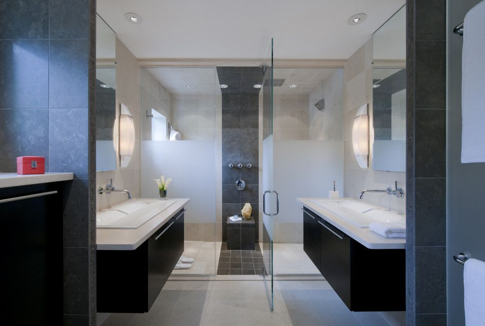 Lowes Chesapeake Va for a Modern Bathroom with a Frosted Glass and Master Suite Renovation, Falls Church, Va by Carnemark Design + Build