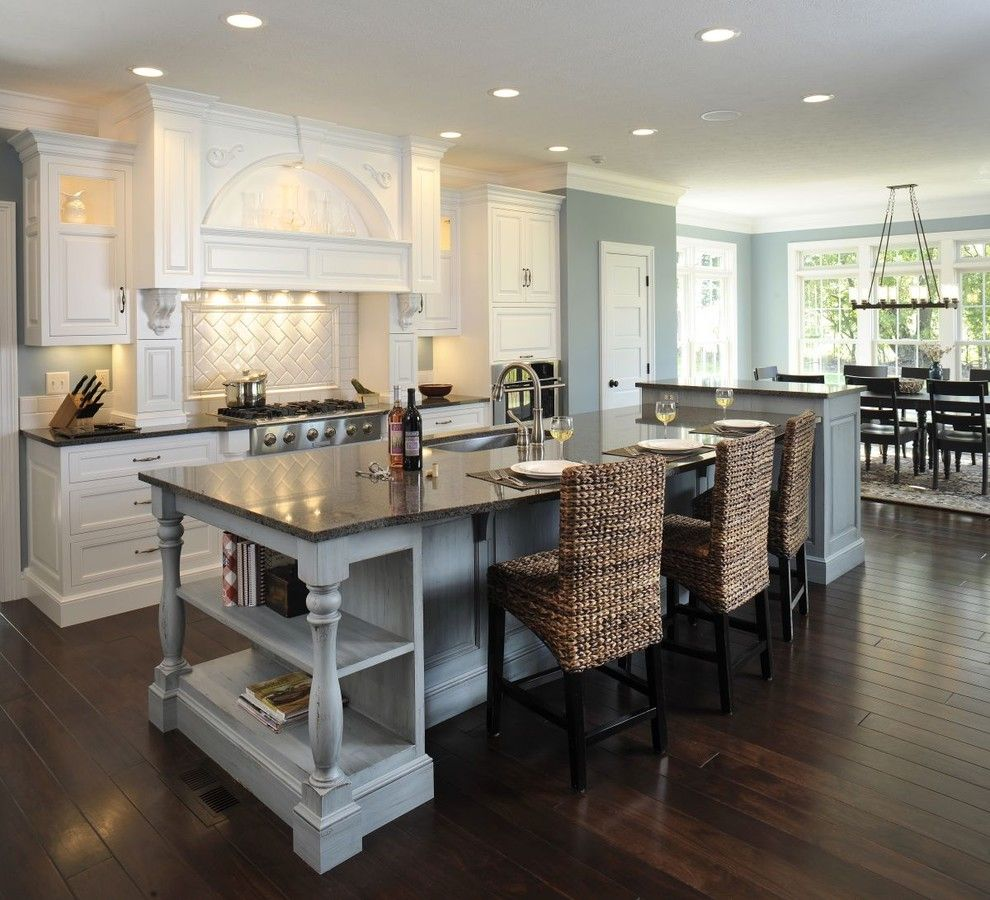 Lowes Chesapeake Va for a Traditional Kitchen with a Crown Molding and Formal White Kitchen with Blue Island   Mullet Cabinet by Mullet Cabinet