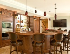Lowes Columbus Ga for a Traditional Home Bar with a Stone Floor and Curved Family Room Bar by Terri Slee Interiors