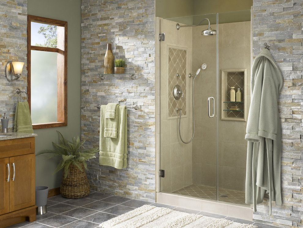 Lowes Easley Sc for a Tropical Bathroom with a Bathroom and Shower Alcove with Natural Accents by Lowe's Home Improvement