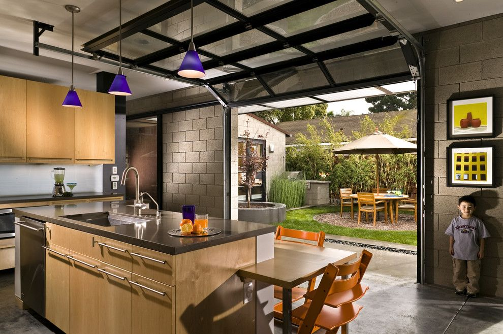 Lowes Eatontown Nj for a Modern Kitchen with a Modern and Kitchen with Private Courtyard Outside Glass Garage Doors by Jeannette Architects