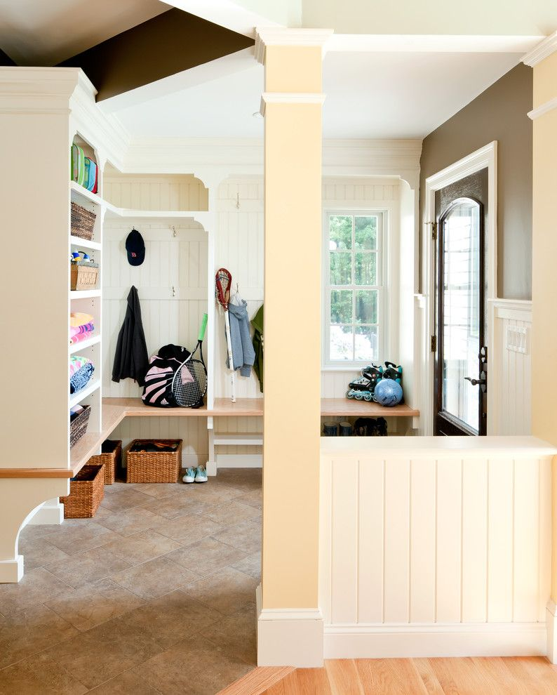 Lowes Howell Nj for a Traditional Entry with a Pillar and Mudroom by Howell Custom Building Group
