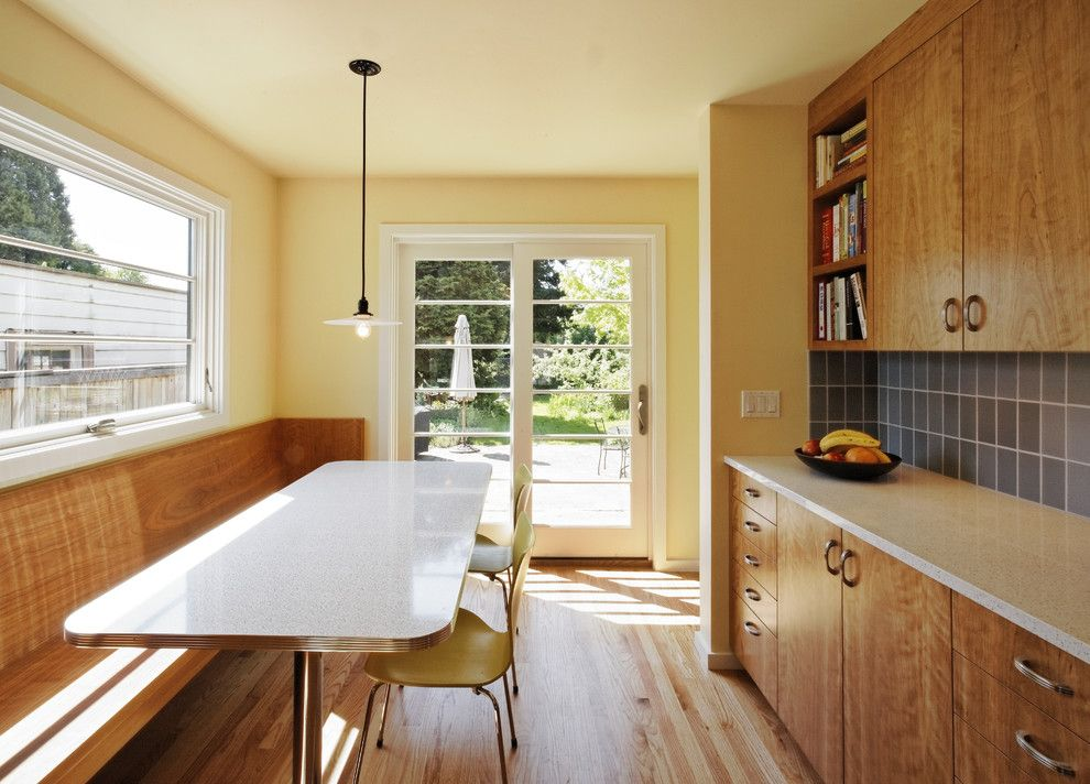Lowes Howell Nj for a Transitional Kitchen with a Dark Blue Backsplash and Wilshire Kitchen, Portland (Photo: Matt Niebuhr) by Howells Architecture + Design, Llc