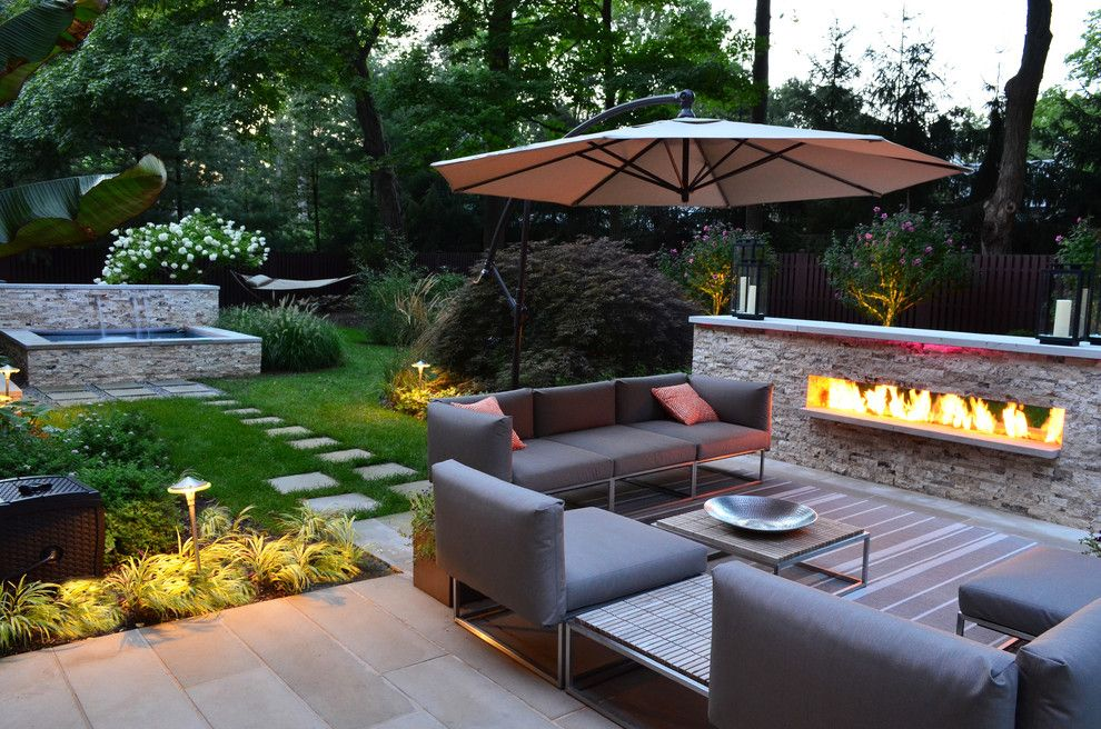 Lowes Howell Nj for a Transitional Landscape with a Outdoor Cushions and Modern Outdoor Fireplace Designs & Landscape Design Nj by Cipriano Landscape Design & Custom Swimming Pools