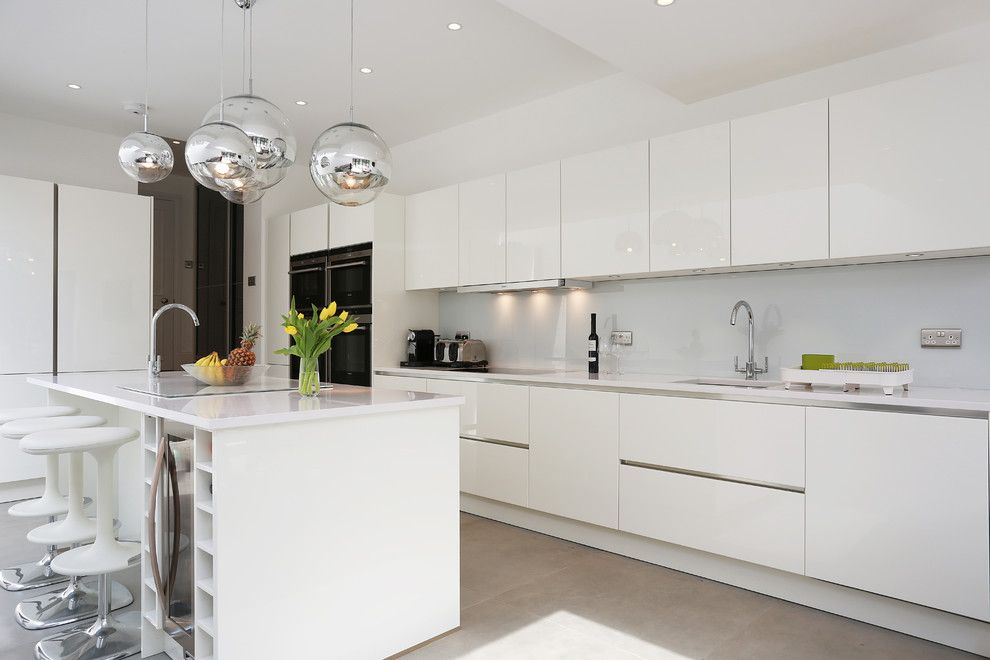 Lowes Kitchen Planner for a Contemporary Kitchen with a White Handleless Kitchen and White Gloss Island Kitchen by Lwk Kitchens London