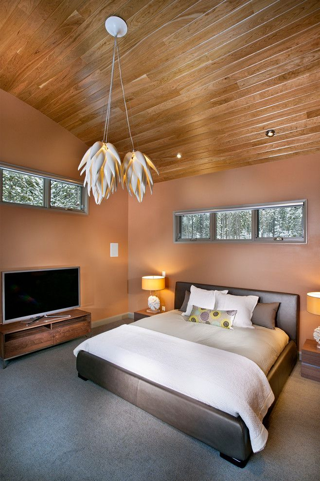 Lowes Lansing Mi for a Contemporary Bedroom with a Wood Ceiling and New Mood Design by New Mood Design Llc