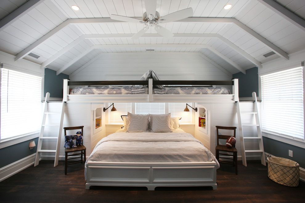 Lowes Marlboro Nj for a Beach Style Bedroom with a Wall Sconces and Bunk Room, Beach Cottage Renovation, Avalon, NJ by Asher Associates Architects