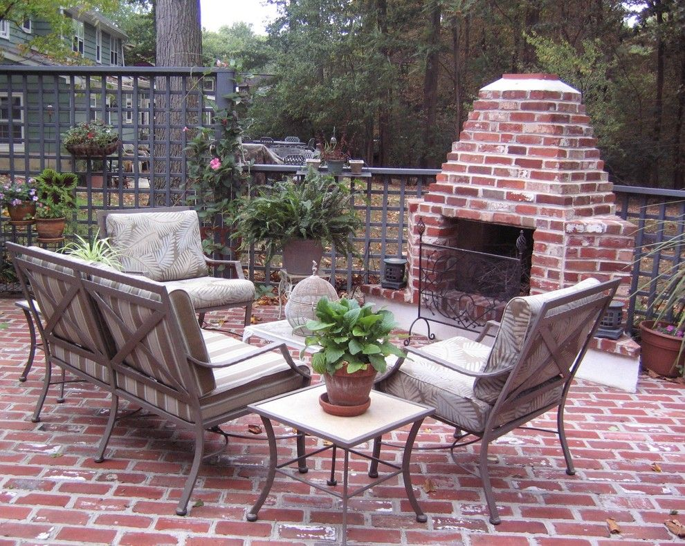 Lowes Marlboro Nj for a Traditional Patio with a Fireplace Screen and Outdoor Brick  Fireplace by EASYdesigns