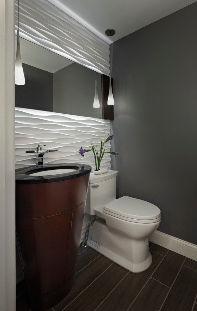 Lowes Oceanside for a Contemporary Powder Room with a Textured Wall and Lightning Bug by Xstyles Bath + More