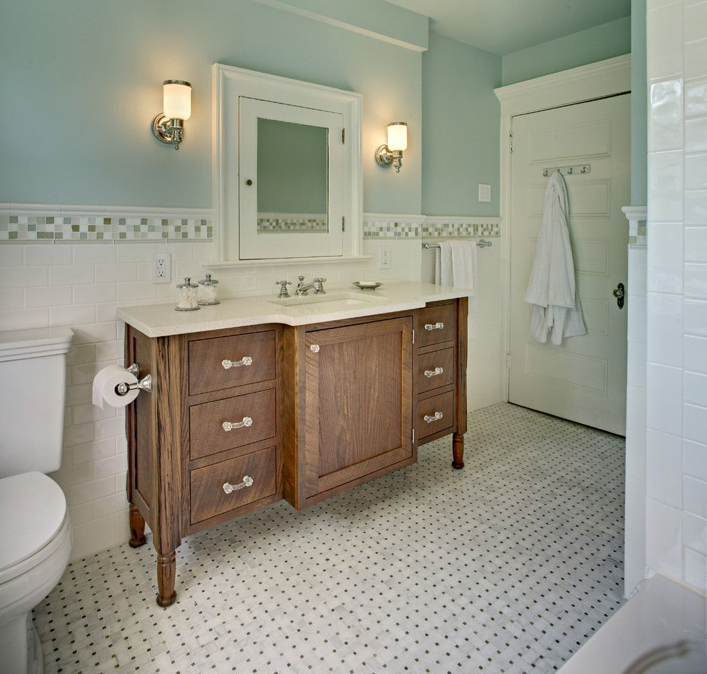 Lowes Oceanside for a Traditional Bathroom with a Basketweave Tile and Tracey Stephens Interior Design Inc by Tracey Stephens Interior Design Inc