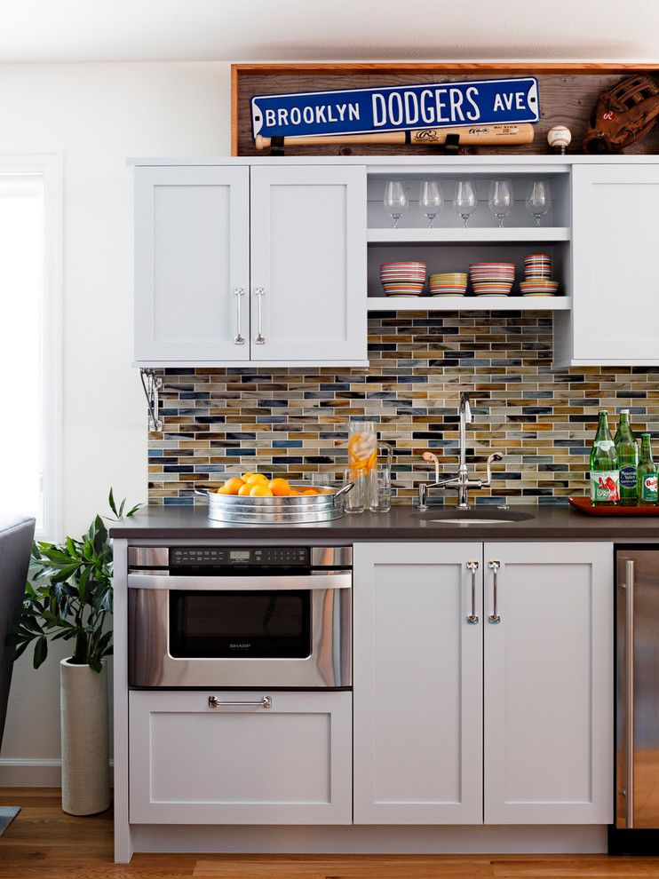 Lowes Portland Maine for a Contemporary Basement with a Colorful Kitchenette and Industrial Chic Basement by Mosaik Design & Remodeling