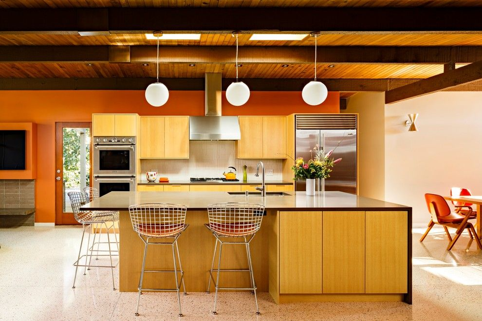 Lowes Portland Maine for a Midcentury Kitchen with a Orange Wall and Mid Century Portland by Risa Boyer Architecture