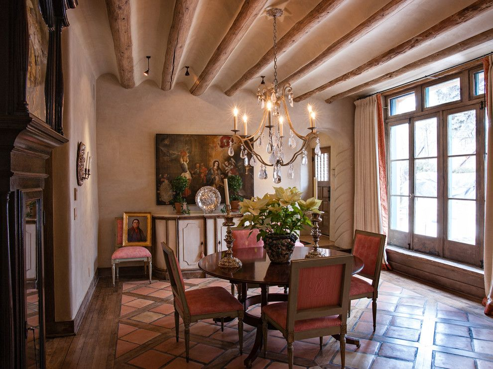 Lowes Santa Fe for a Mediterranean Dining Room with a Mediterranean Floor and Santa Fe Historical Remodel by K. M. Skelly, Inc