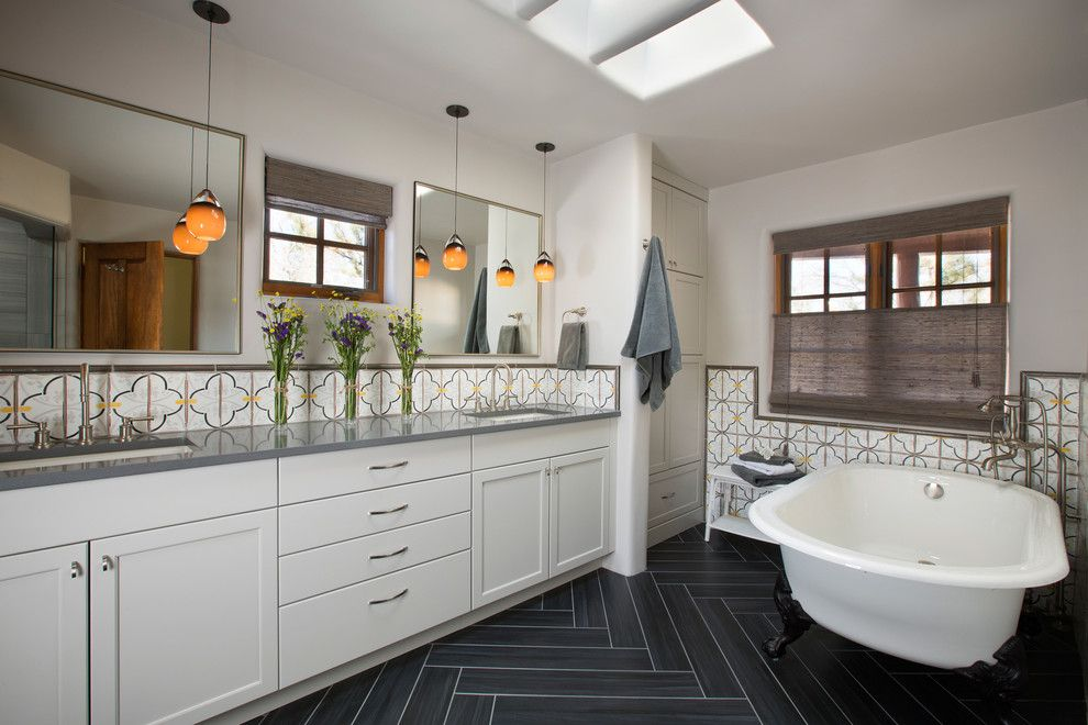Lowes Santa Fe for a Southwestern Bathroom with a White Cabinets and Adobe Homes in Santa Fe New Mexico by Prull Custom Builders