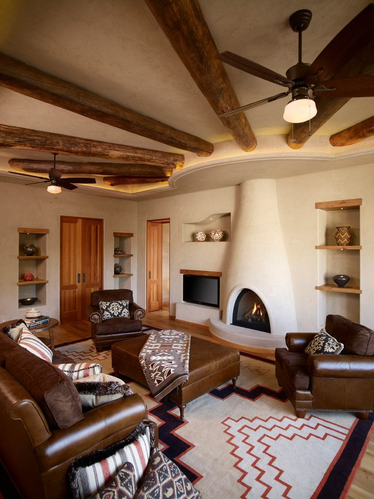 Lowes Santa Fe for a Southwestern Family Room with a Wood Floor and Oshweken by Harvest House Craftsmen