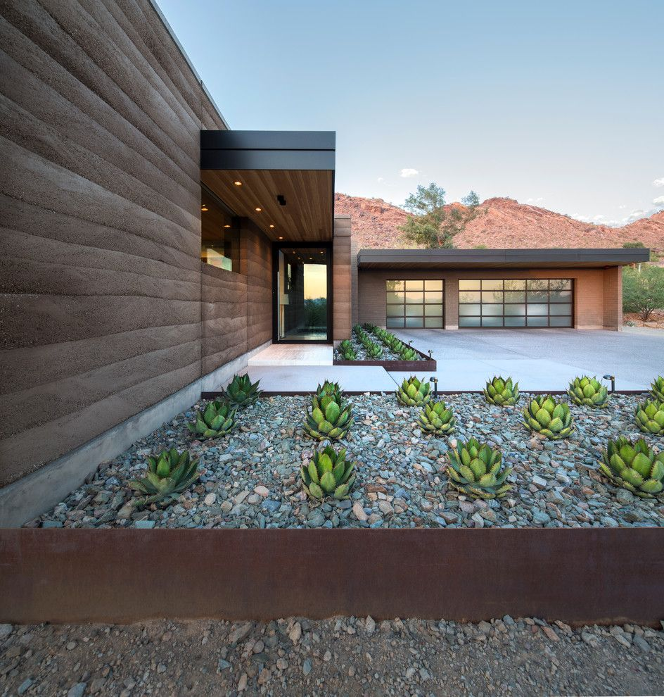 Lowes Scottsdale for a Contemporary Entry with a Brown Exterior and Rammed Earth Modern by Kendle Design Collaborative