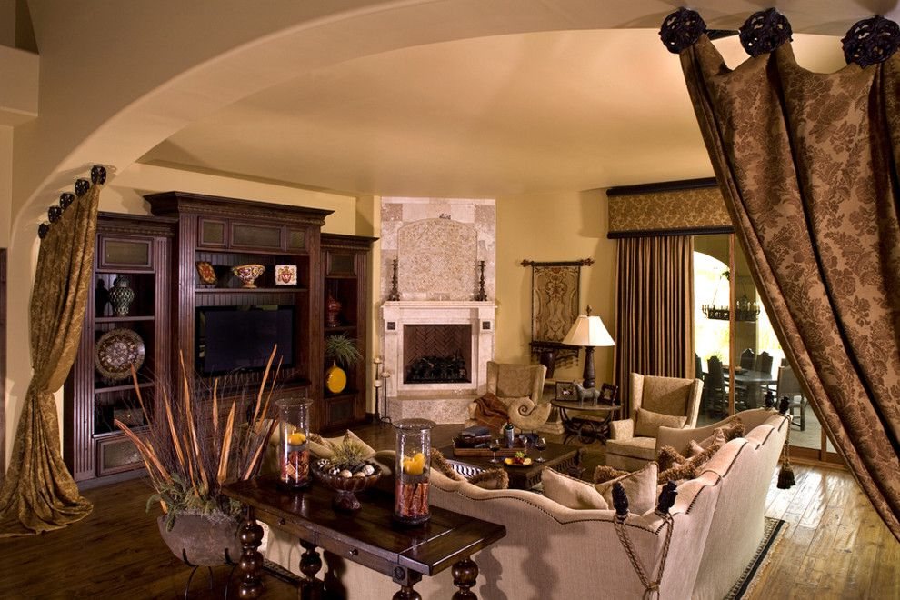 Lowes Scottsdale for a Rustic Family Room with a Tuscan and Mediterranean Family Room by Vm Concept Interior Design Studio