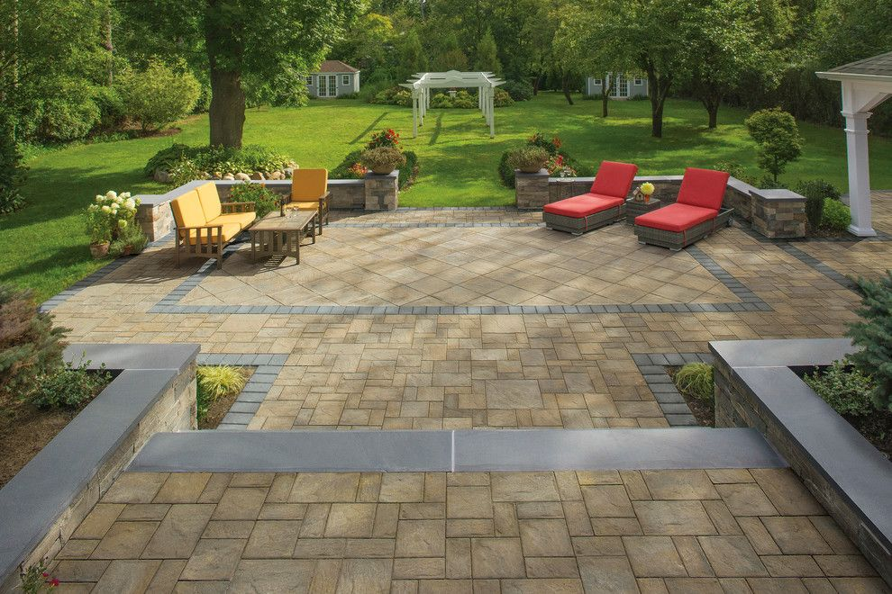 Lowes Seekonk for a Contemporary Spaces with a Red Cushions and Cambridge Pavingstones with Armortec by Cambridge Pavingstones with Armortec