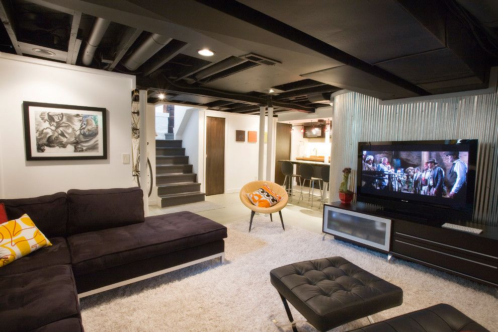Lowes State College for a Industrial Basement with a Black Sofa and Duncan Avenue Basement Renovation by Ryan Duebber Architect, Llc
