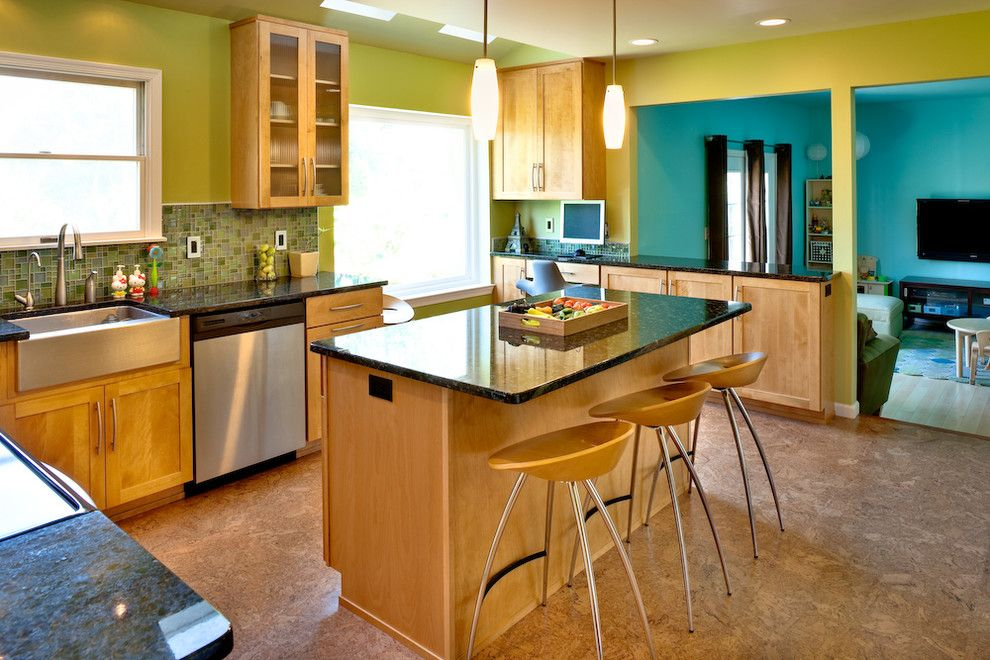 Lowes State College Pa for a Transitional Kitchen with a Cork Floor and Soft Modern Green Kitchen Remodel by Studio26 Homes